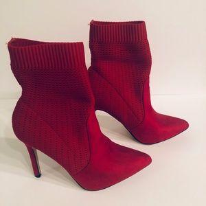 Catherine Maladrino Red Sock Bootie